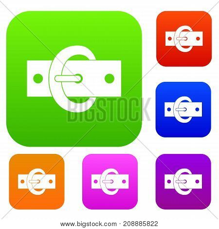 Buckle belt set icon color in flat style isolated on white. Collection sings vector illustration