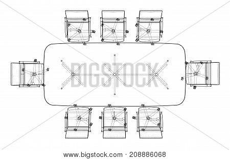 Conference table with chairs in sketch style. Vector rendering of 3d