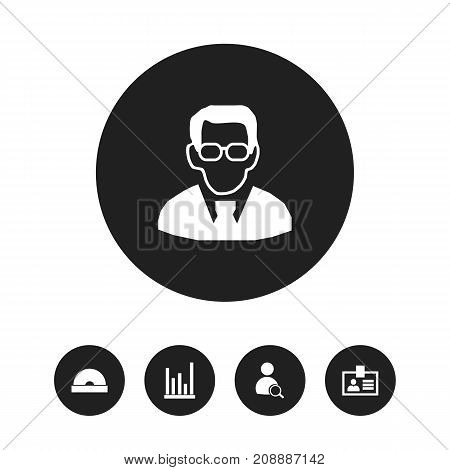 Set Of 5 Editable Bureau Icons. Includes Symbols Such As Compact Disk, Professor, Search And More