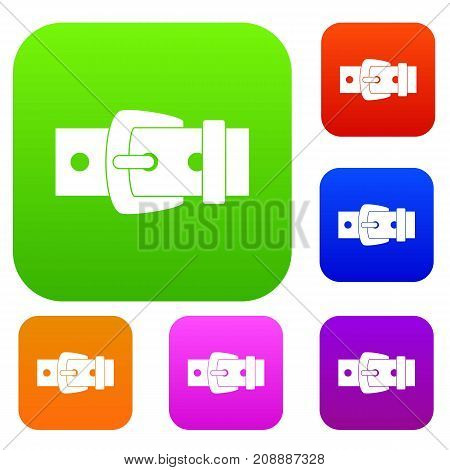 Black metal belt buckle set icon color in flat style isolated on white. Collection sings vector illustration