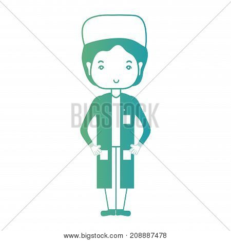 line, man doctor with uniform and hairstyle design vector illustration