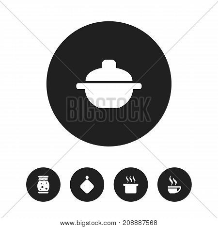 Set Of 5 Editable Meal Icons. Includes Symbols Such As Pot-Holder, Saucepan, Homemade Jelly And More