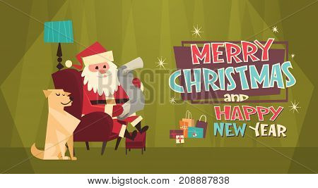 Merry Christmas And Happy New Year Greeting Card Santa Claus With Dog In Red Hat Reading Wish List Winter Holidays Concept Banner Flat Vector Illustration