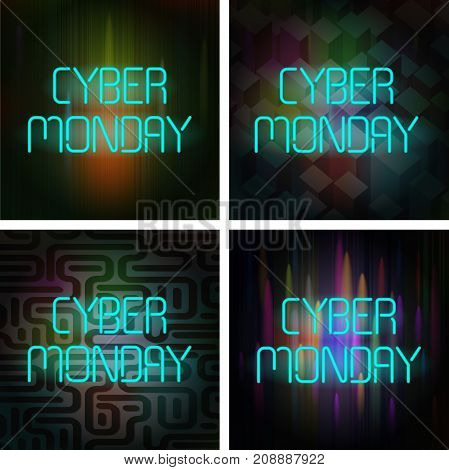 Cyber Monday Poster Set. Neon text on a dark background. This collection of illustrations can be used for special offers, online sales and web promotion.