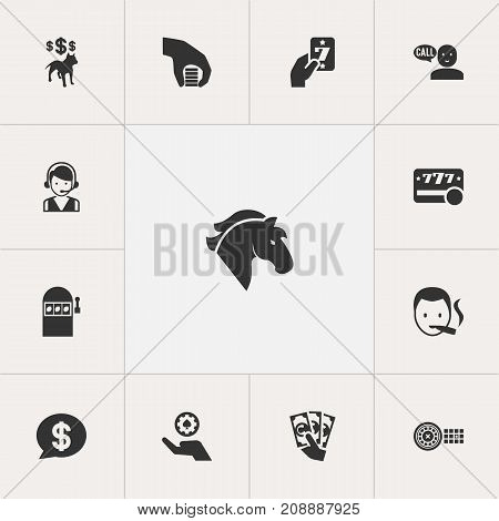 Set Of 13 Editable Business Icons. Includes Symbols Such As Dog Fighting Bet, Poker Money, Bet And More