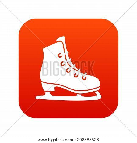 Skates icon digital red for any design isolated on white vector illustration