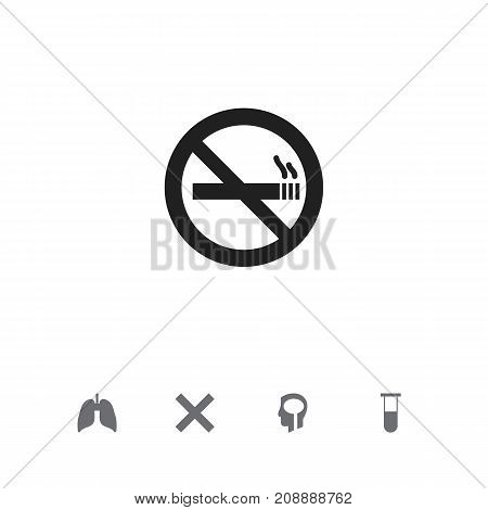 Set Of 5 Editable Clinic Icons. Includes Symbols Such As Intelligence, Respiratory Organ, Stop Smoke And More