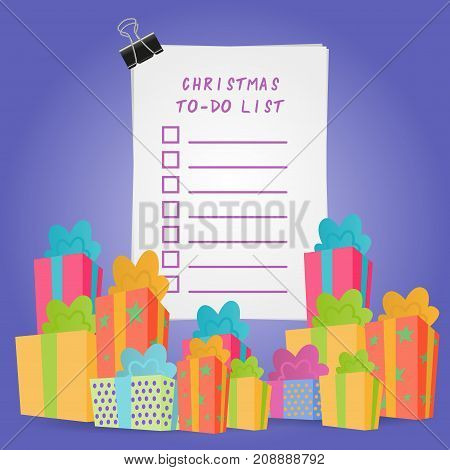 Christmas To-Do List Illustration. Picture with gift and present boxes.