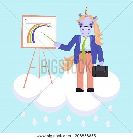 Funny business animal character. Unicorn stands on the cloud and shows a rainbow graph. Vector illustration eps 10