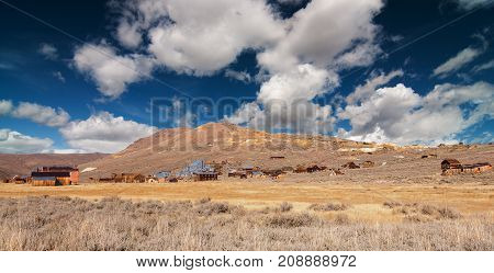 panoramic abandoned old wild western gold ghost town in decay usa