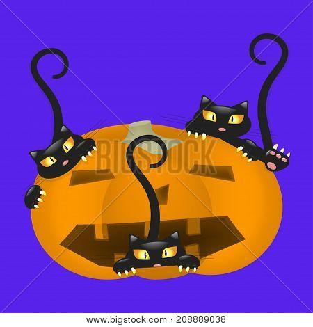 Pumpkin Scares Cat at Halloween. Vector illustration eps 10