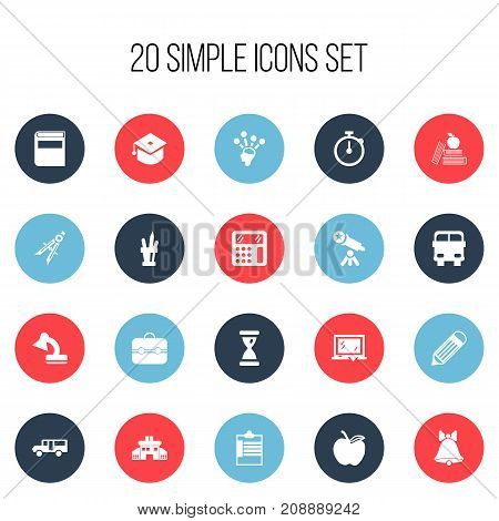 Set Of 20 Editable School Icons. Includes Symbols Such As Trunk, Ceremony, Transport Vehicle And More