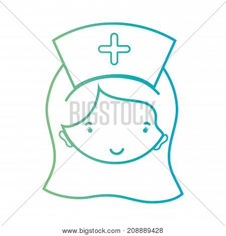 line woman nurse head with hairstyle design vector illustration