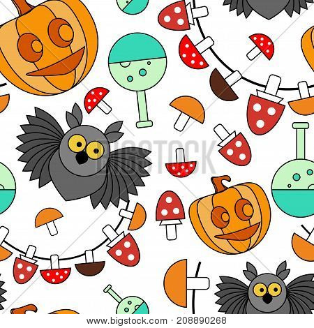 Seamless pattern. Halloween. Owl, pumpkin with a smile, retort, mushrooms, toadstools against a white background. Vector background.