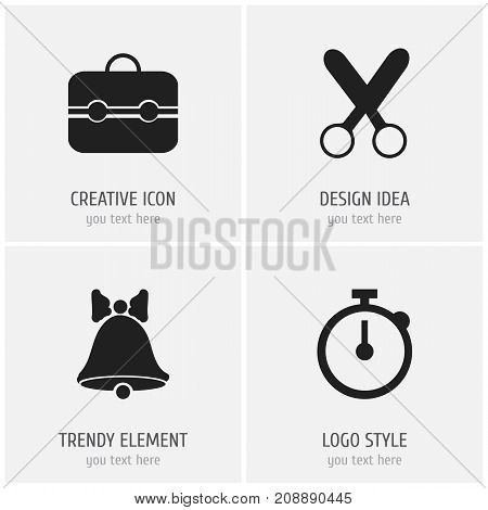 Set Of 4 Editable Education Icons. Includes Symbols Such As Trunk, Jingle, Timer And More