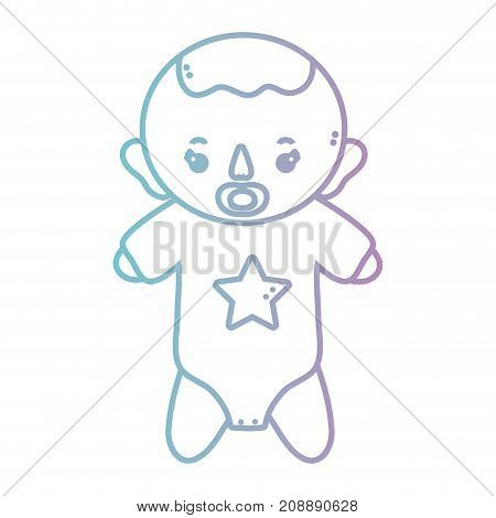 line baby boy with pijama and pacifier vector illustration