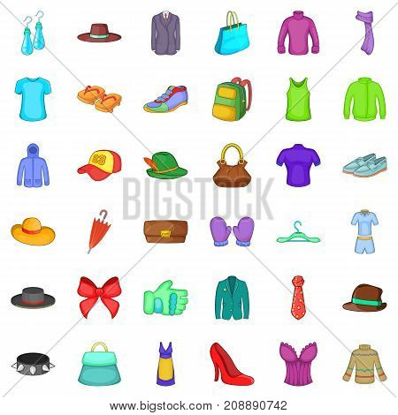 Fashion things icons set. Cartoon style of 36 fashion things vector icons for web isolated on white background