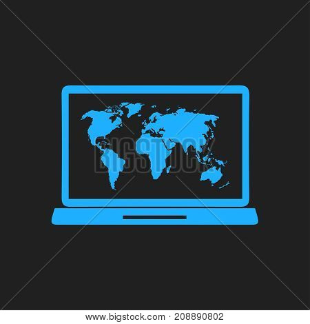 Laptop world map vector photo free trial bigstock laptop and world map illustration world map geography symbol flat design style gumiabroncs Image collections