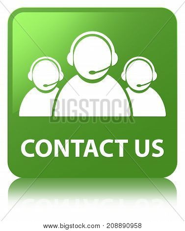 Contact Us (customer Care Team Icon) Soft Green Square Button