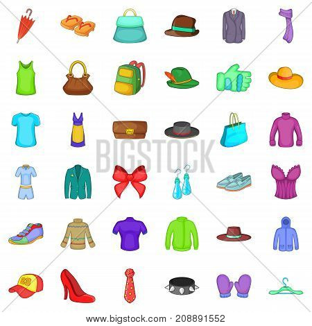 Jacket icons set. Cartoon style of 36 jacket vector icons for web isolated on white background