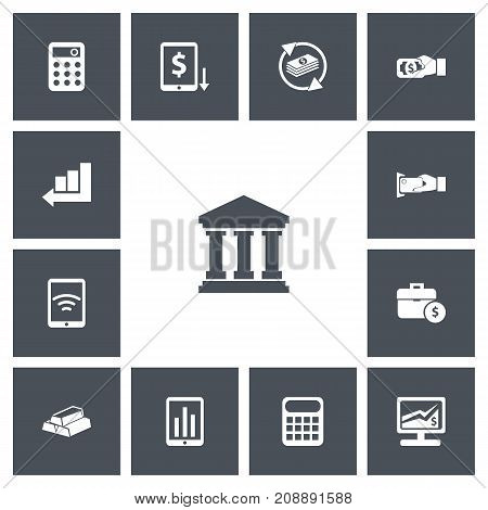 Set Of 13 Editable Investment Icons. Includes Symbols Such As Calculator, Calculate, Wireless Connection And More