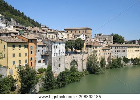 Fossombrone (Pesaro Urbino Marches italy): panoramic view of the city and Metauro river