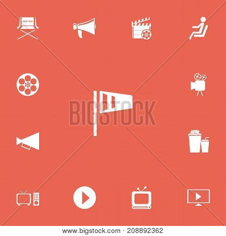Set Of 13 Editable Cinema Icons. Includes Symbols Such As Bullhorn, Start Video, Shooting Seat And More