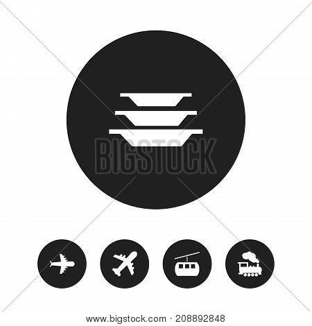 Set Of 5 Editable Holiday Icons. Includes Symbols Such As Aero, Airplane, Dishes And More