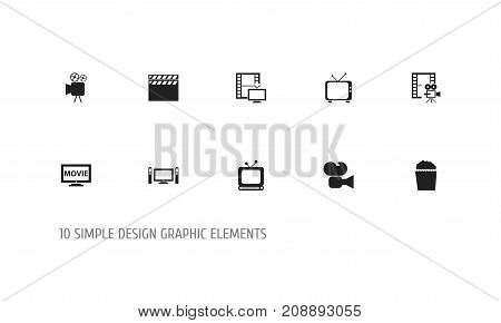 Set Of 10 Editable Filming Icons. Includes Symbols Such As Episode, Broadcast, Television And More