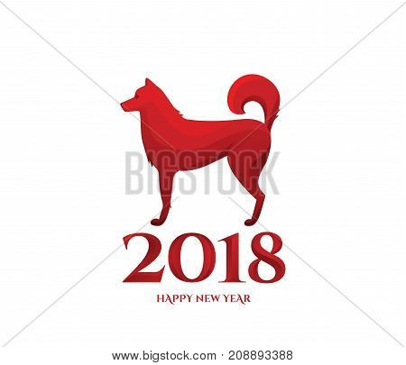 2018 Chinese new year of dog greeting card. Lunar concept in red color. Vector illustration