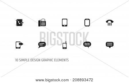 Set Of 10 Editable Device Icons. Includes Symbols Such As Tablet, Office Telephone, Radio Talkie And More