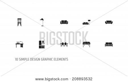 Set Of 10 Editable Interior Icons. Includes Symbols Such As Interior, Divan, Restaurant Table And More