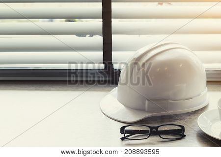 engineer or architect desk background in the office project ideas concept