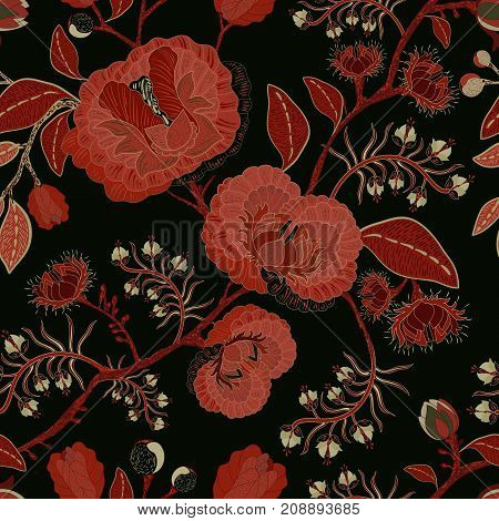 Vector seamless nature pattern. Background with big decorative flowers. Dark floral pattern. Gothic