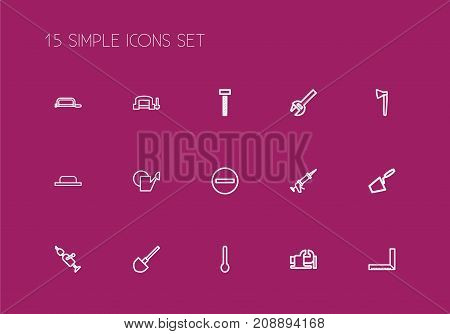 Set Of 15 Editable Equipment Outline Icons. Includes Symbols Such As Tablespoon, Measurement, Nippers And More
