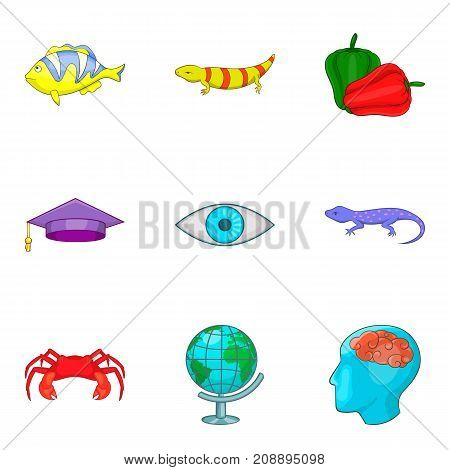Degree in biology icons set. Cartoon set of 9 degree in biology vector icons for web isolated on white background