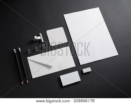 Blank white corporate stationery set mockup. Brand ID elements.