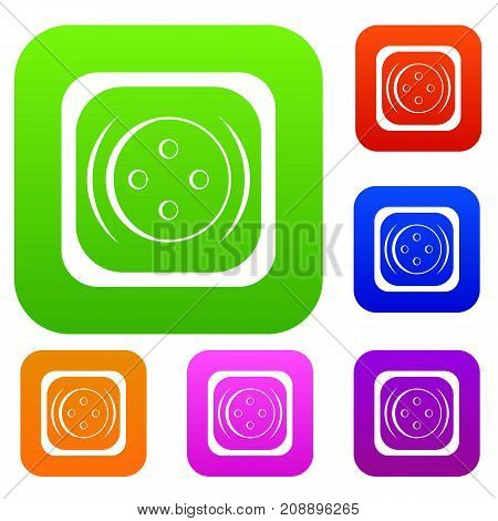 Clothing square button set icon color in flat style isolated on white. Collection sings vector illustration
