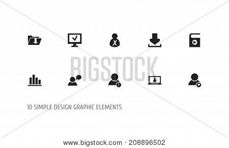 Set Of 10 Editable Network Icons. Includes Symbols Such As Error Account, Computer, Blocked Person And More