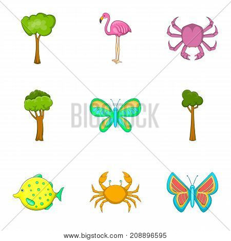 Biology science icons set. Cartoon set of 9 biology science vector icons for web isolated on white background