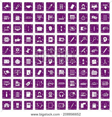 100 office work icons set in grunge style purple color isolated on white background vector illustration