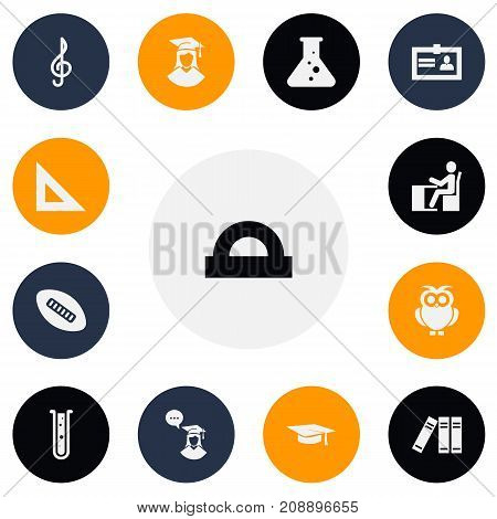 Set Of 13 Editable Teach Icons. Includes Symbols Such As Semicircle Ruler, Chemistry, Flask And More
