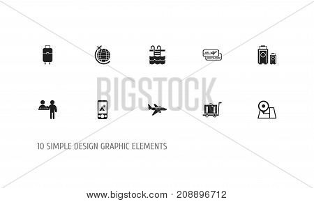 Set Of 10 Editable Journey Icons. Includes Symbols Such As Baggage, Luggage, Boarding Pass And More