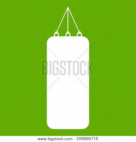 Punching bag for boxing icon white isolated on green background. Vector illustration