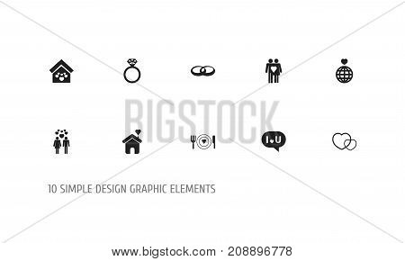Set Of 10 Editable Love Icons. Includes Symbols Such As Trappings, Plate, Beau And More