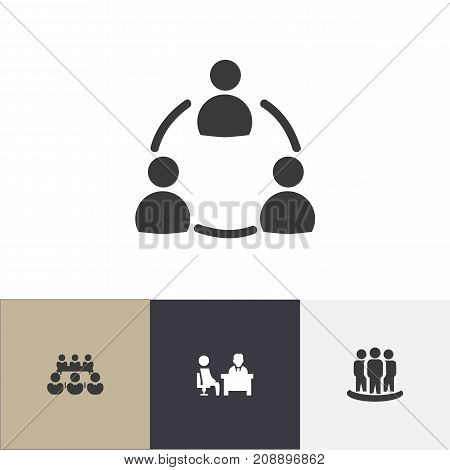 Set Of 4 Editable Business Icons. Includes Symbols Such As Meeting, Debate, Command