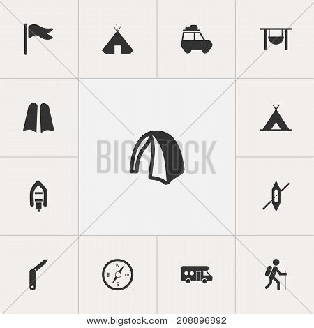 Set Of 13 Editable Camping Icons. Includes Symbols Such As Pennant, Boat, Gait And More
