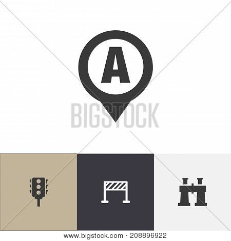 Set Of 4 Editable Navigation Icons. Includes Symbols Such As Spyglass, Marker, Street Construction And More