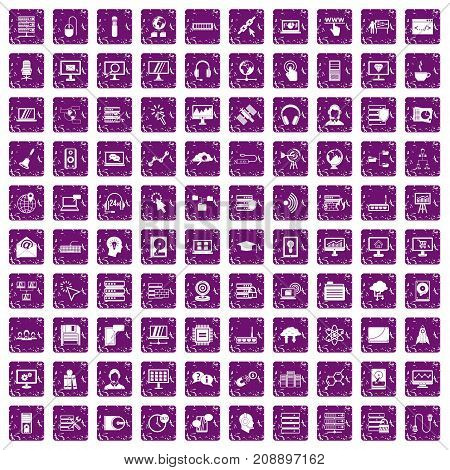 100 on-line seminar icons set in grunge style purple color isolated on white background vector illustration