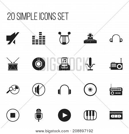 Set Of 20 Editable Multimedia Icons. Includes Symbols Such As Broadcasting, Timpano, Media Device And More